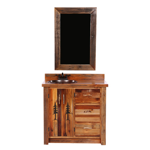 Barnwood Vanity with Carved Tree Design with Mirror - 36 Inch