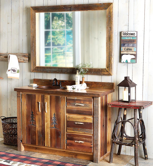 Barnwood Vanity with Carved Tree Design with Mirror - 48 Inch