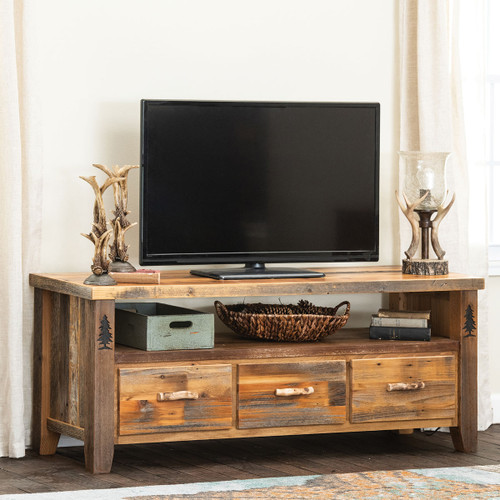Barnwood with Carved Trees TV Stand