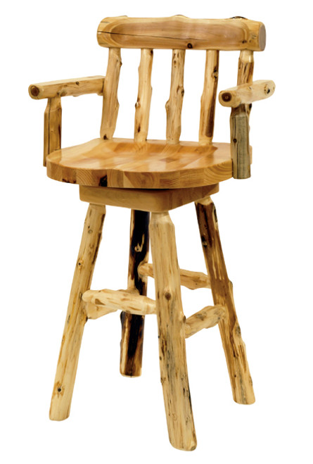 Log Counterstool with Arms - 24 Inch