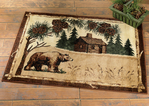 Bear & Cabin Rug - 2 x 7