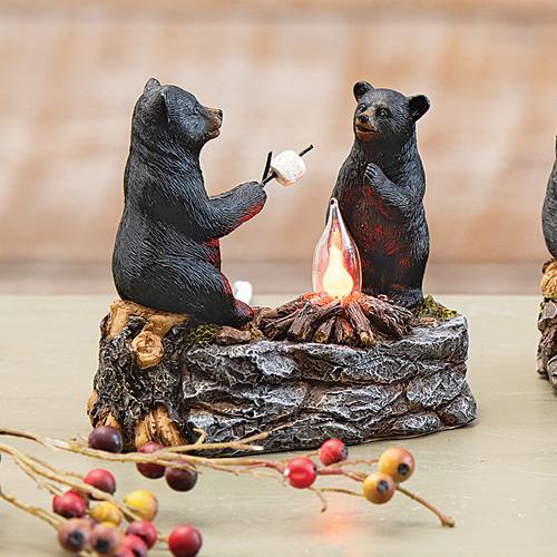Bear & Cub Toasting Marshmallows Nightlight