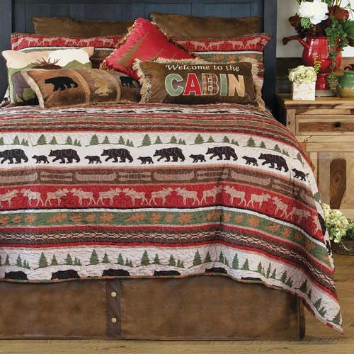 Bear & Moose Cabin Quilt Set - Queen