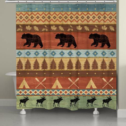 Bear and Moose Crossing Shower Curtain