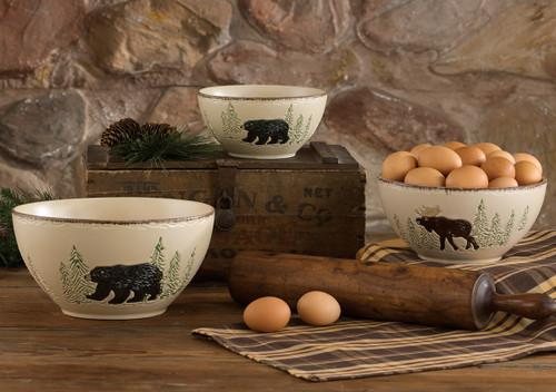 Bear & Moose Stoneware Mixing Bowl Set - 3 pcs