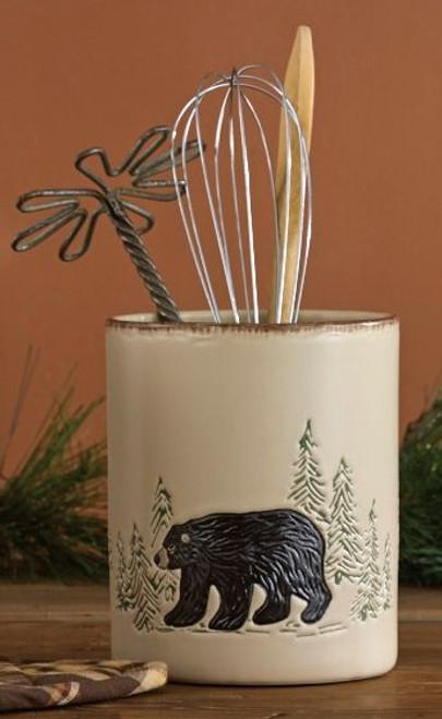 Bear & Moose Stoneware Utensil Holder