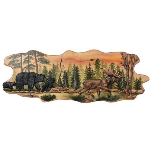 Bear & Moose Trail Carved Wood Wall Art