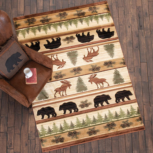 Bear & Moose Wilderness Rug - 5 x 8