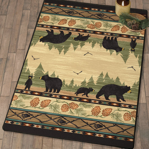 Family Time Black Bear & Cubs Rug Collection