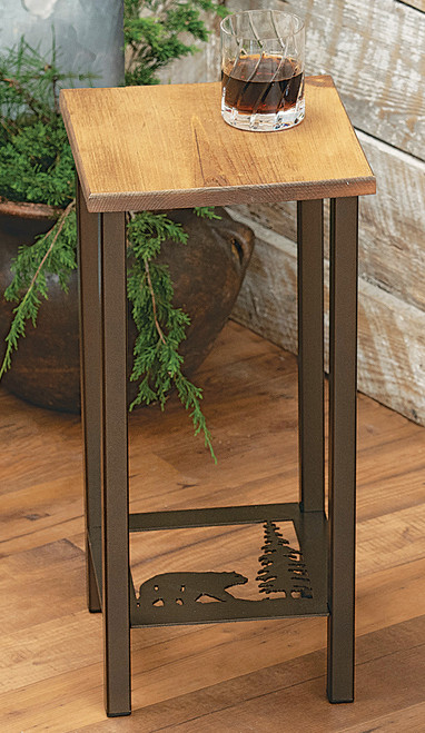 Bear & Pine Tree Drink Accent Table