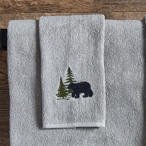 Bear & Pine Tree Fingertip Towel