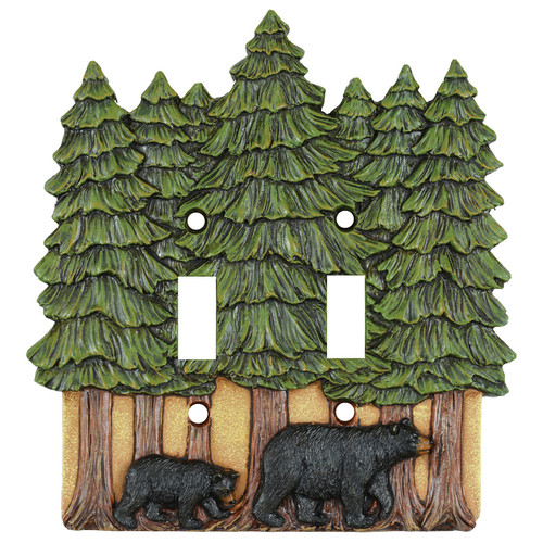 Bear & Pine Trees Double Switch Cover