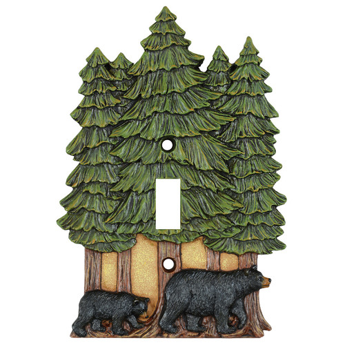 Bear & Pine Trees Single Switch Cover