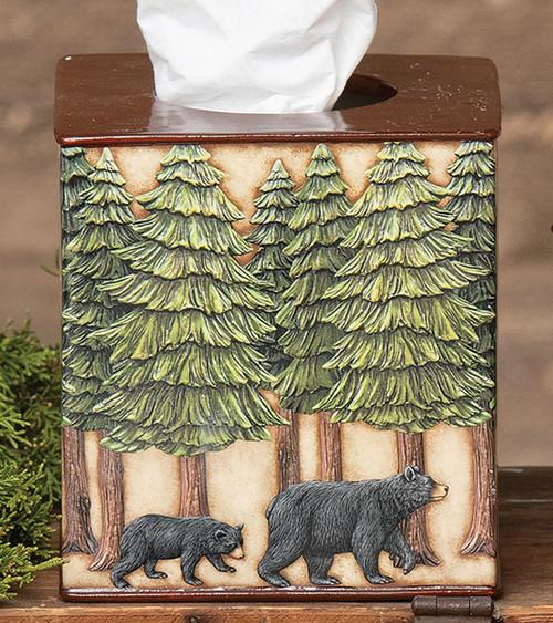 Bear & Pine Trees Tissue Cover