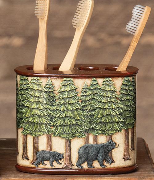 Bear & Pine Trees Toothbrush Holder
