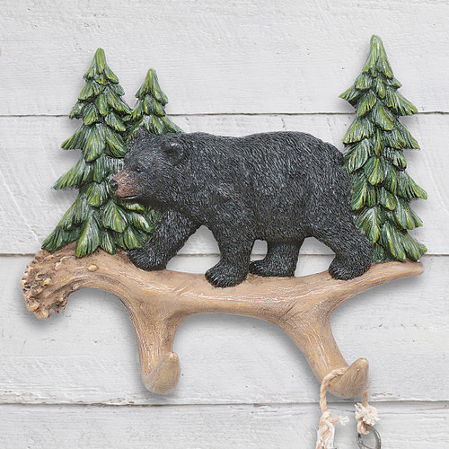 Bear & Pine Trees Wall Hooks