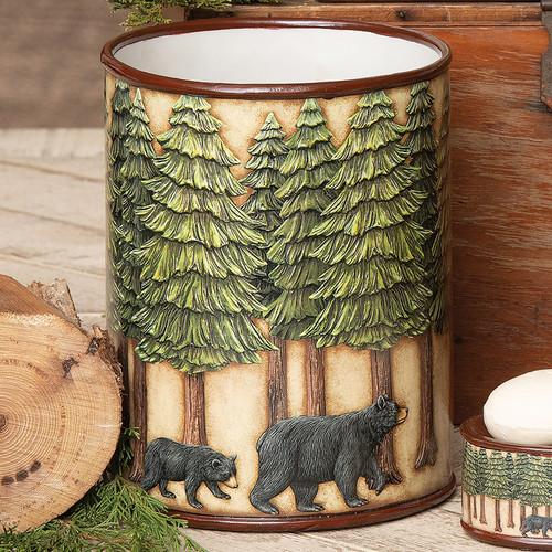 Bear & Pine Trees Waste Basket