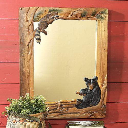 Bear & Raccoon Carved Wood Mirror