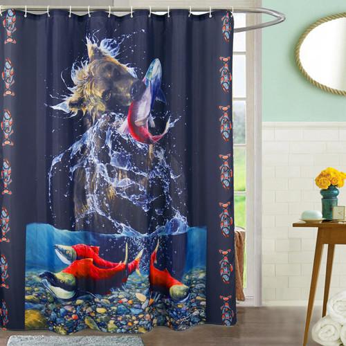 Bear & Salmon Shower Curtain