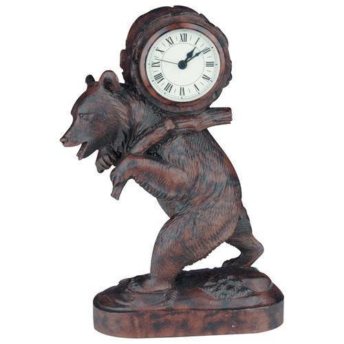Bear Backpack Clock - Burlwood