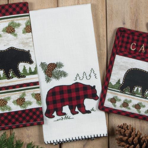 Bear Cabin Buffalo Check Whipstitch Terry Towel