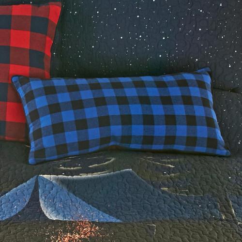 Bear Campout Blue Check Pillow