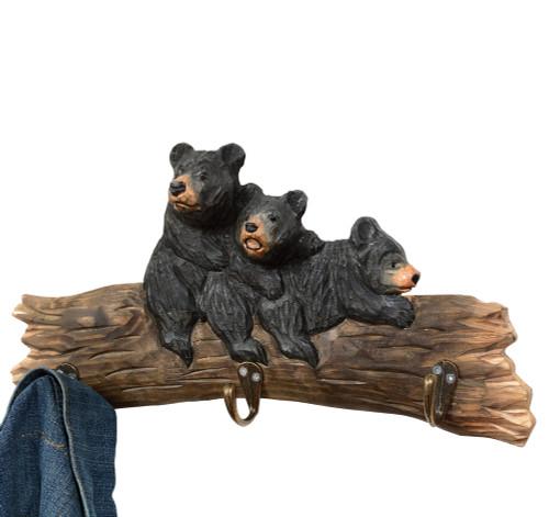 Bear Cubs Wood Carved Hooks