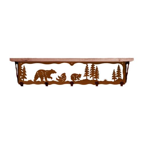 Bear Family 34 Inch Pine Hook Shelf