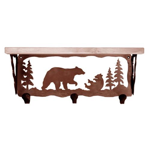 Bear Family Coat Rack with Shelf - 20 Inch