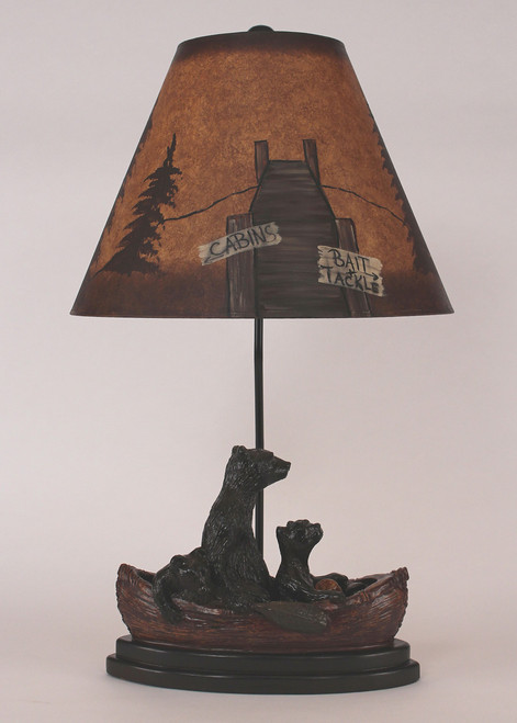 Bear Family in Canoe Table Lamp with Painted Shade