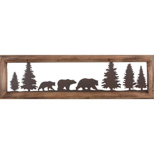 Bear Family Metal & Wood Wall Art