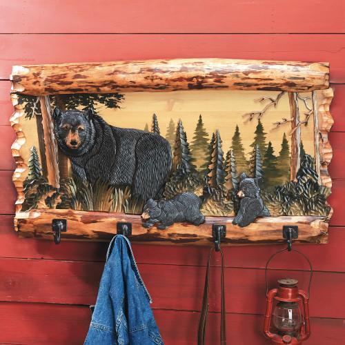 Bear Family Wood Coat Rack