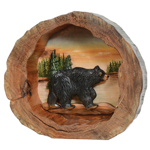 Bear Forest Carved Wood Wall Art