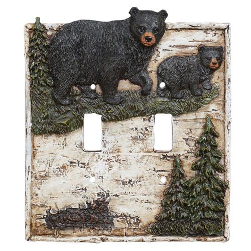 Birch Forest Black Bear Double Switch Plate