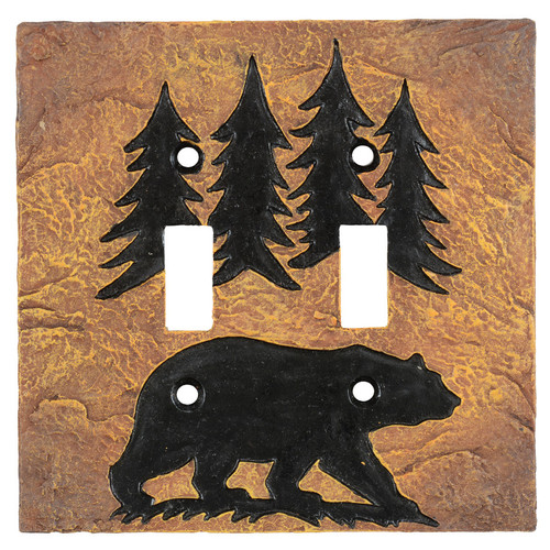 Bear Forest Stone Double Switch Cover