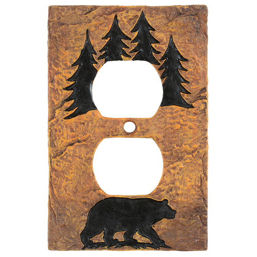 Bear Forest Stone Outlet Cover