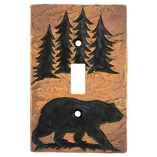 Bear Forest Stone Single Switch Cover