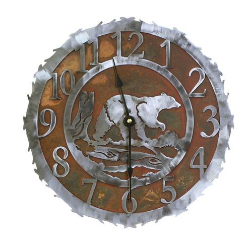Bear Metal Art Clock - 12 Inch