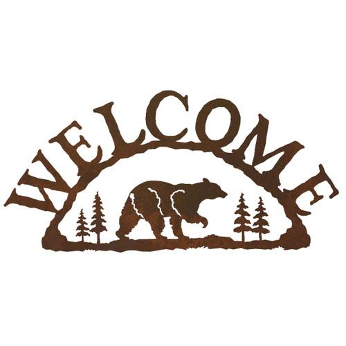 Bear Metal Art Welcome Sign