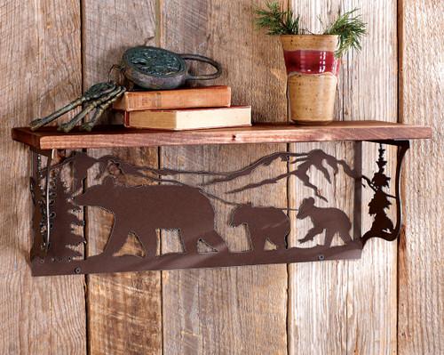 Bear Metal Art Wood Shelf