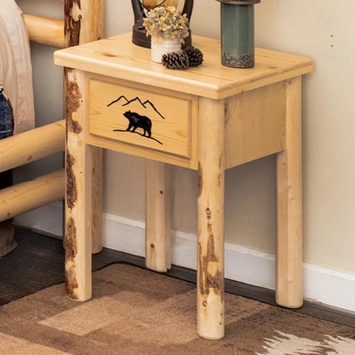 Bear Mountain Log Nightstand