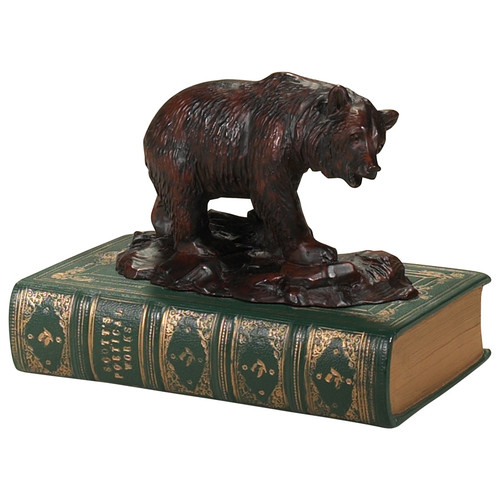 Bear on Rocks with Book Sculpture