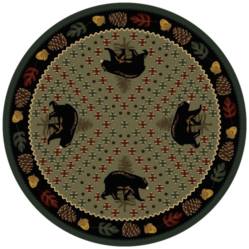 Bear Patchwork Green Rug - 8 Ft. Round