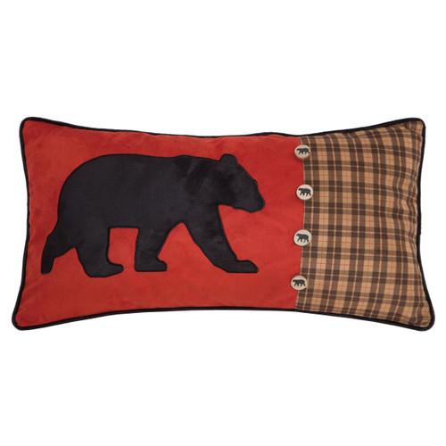 Bear Plaid & Button Pillow