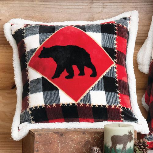Bear Plaid Plush Pillow