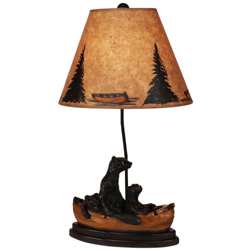 Kodiak/Honey Bear Family Canoe Table Lamp- Canoe and Tree Shade