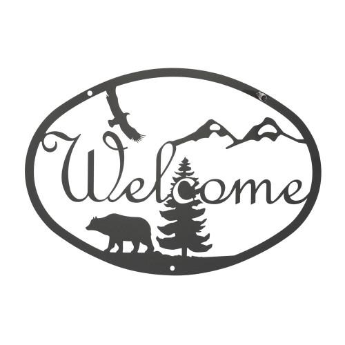 Bear Script Welcome Sign
