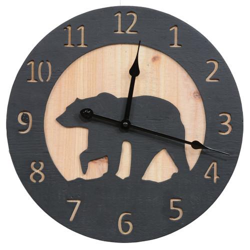 Bear Silhouette Wood Wall Clock