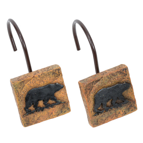 Bear Stone Shower Hooks - Set of 12