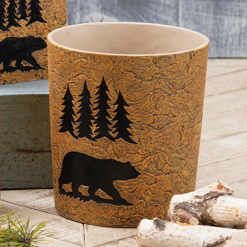 Bear Stone Waste Basket